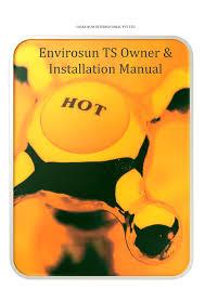 Envirosun TS Plus owners manual best solar hot water system Australia